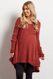 Rust Cold Shoulder V-Neck Long Sleeve Maternity Knit Sweater Top