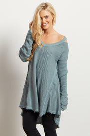 Green Cold Shoulder V-Neck Long Sleeve Knit Sweater Top