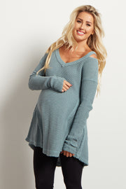 Green Cold Shoulder Long Sleeve Maternity Knit Top