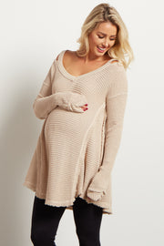 Beige Cold Shoulder Long Sleeve Maternity Knit Top