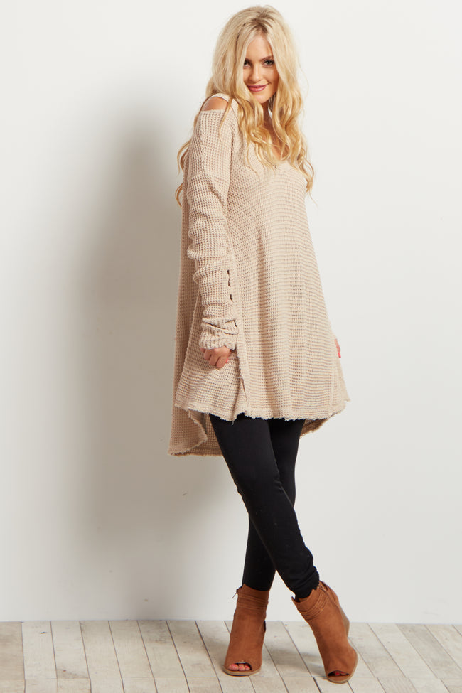 Beige Cold Shoulder V-Neck Long Sleeve Knit Sweater Top