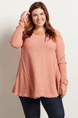 Pink Cold Shoulder V-Neck Long Sleeve Plus Knit Sweater Maternity Top