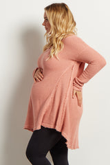 Pink Cold Shoulder V-Neck Long Sleeve Maternity Plus Knit Sweater Top