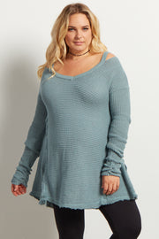 Green Cold Shoulder V-Neck Long Sleeve Maternity Plus Knit Sweater Top