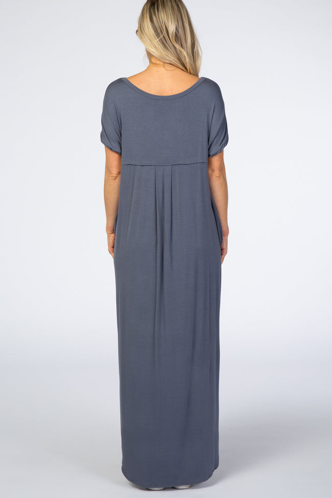 PinkBlush Charcoal Grey Solid Short Sleeve Maternity Maxi Dress