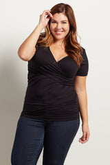 Black Cross Front Plus Nursing/Maternity Top