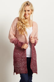 Burgundy Ombre Knit Cardigan