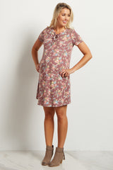 Burgundy Floral Lace-Up Front Maternity Dress