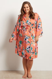 Coral Floral Plus Delivery/Nursing Maternity Robe