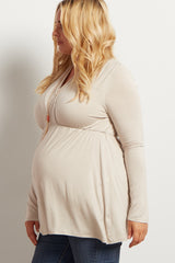 PinkBlush Taupe Long Sleeve Plus Maternity/Nursing Wrap Top
