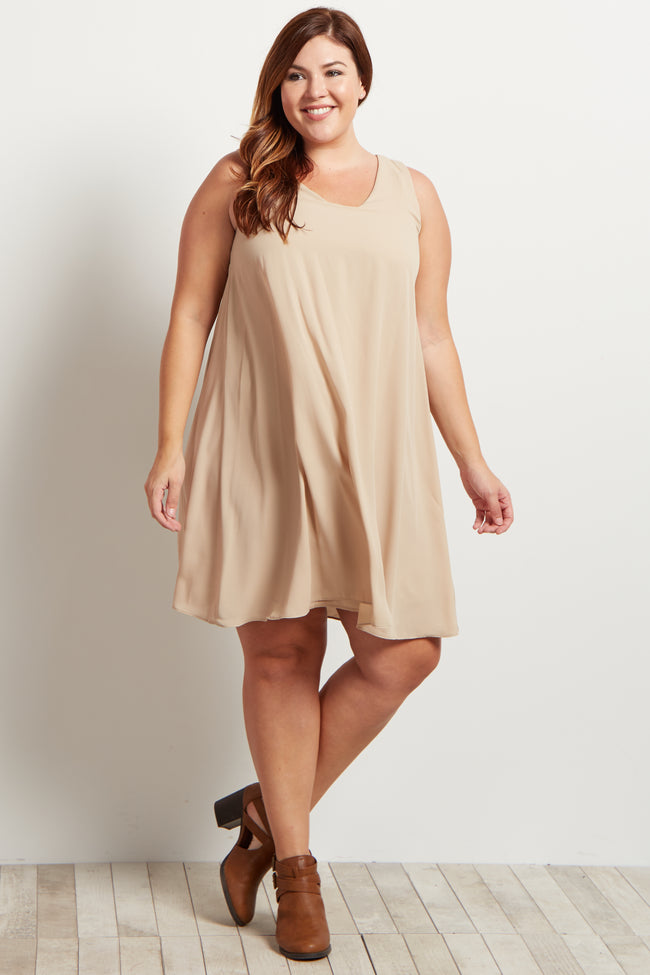 Taupe Basic Chiffon Plus Size Dress