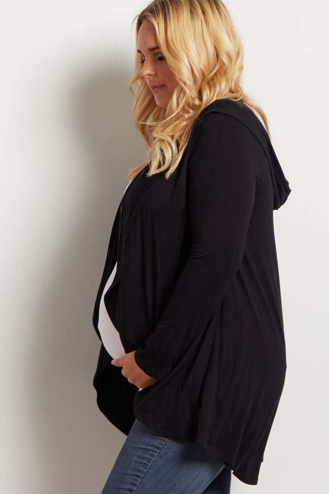 Black Hooded Plus Size Maternity Cardigan