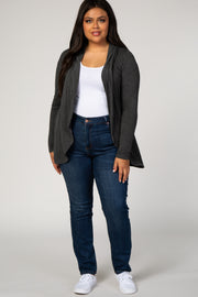 Charcoal Grey Hooded Plus Size Cardigan