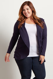 Navy Blue Hooded Plus Size Cardigan