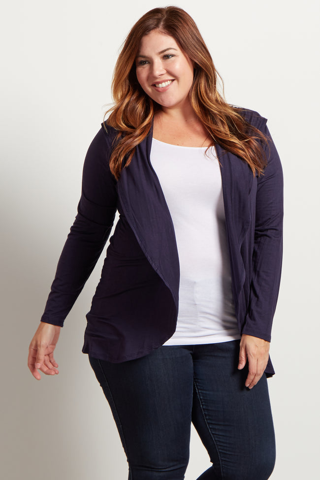 Navy Blue Hooded Plus Size Maternity Cardigan