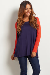Navy Blue Colorblock Sleeve Top
