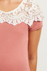 Pink Short Sleeve Lace Neckline Maternity Top