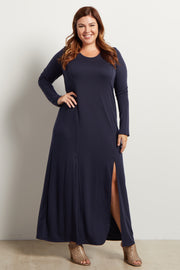 Navy Blue Solid Plus Size Maxi Dress