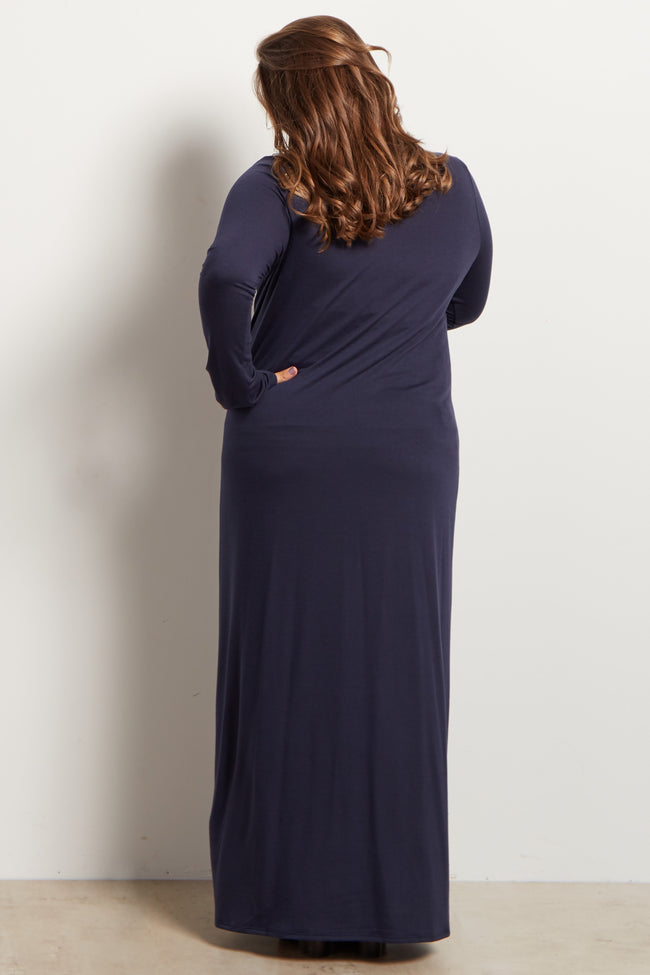 Navy Blue Solid Plus Size Maternity Maxi Dress