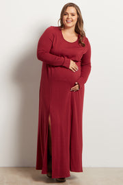 Burgundy Solid Plus Size Maternity Maxi Dress