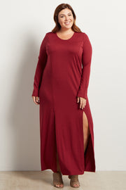 Burgundy Solid Plus Size Maxi Dress