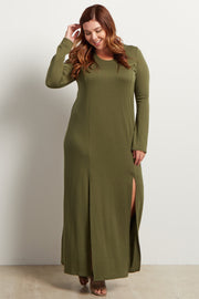 Olive Green Solid Plus Size Maxi Dress