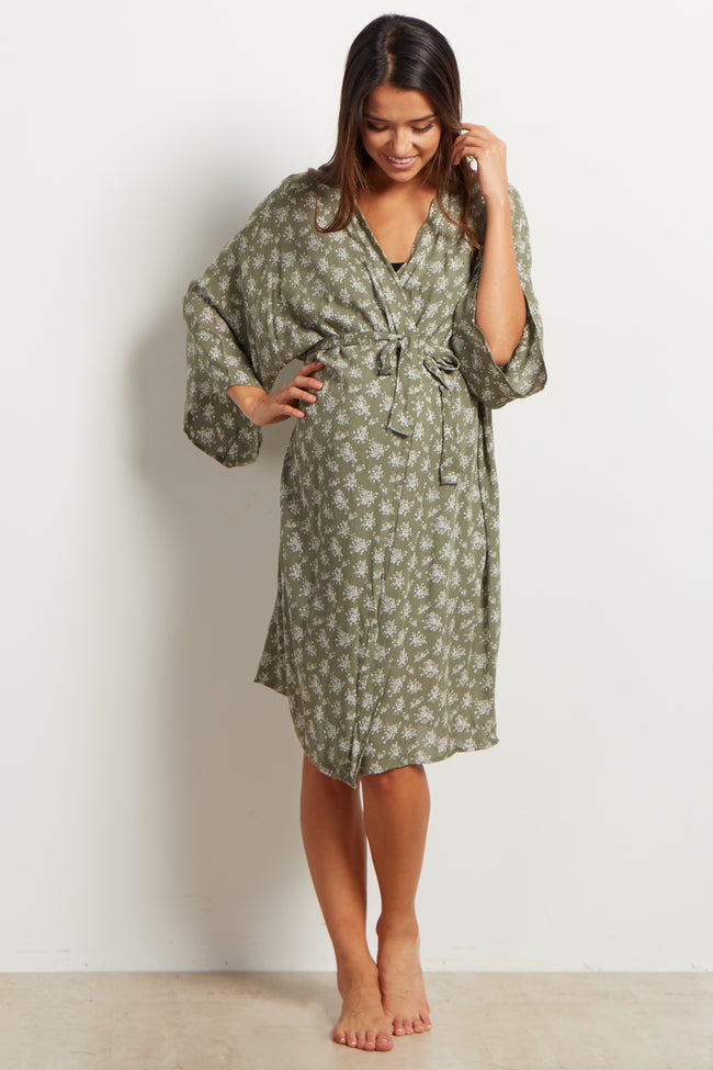 Olive Green Printed Delivery/Nursing Maternity Robe
