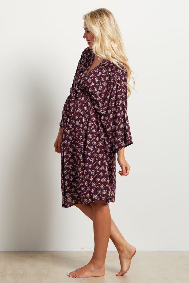 Burgundy Printed Delivery/Nursing Maternity Robe