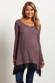 Mauve Lace Trim Long Sleeve Maternity Top