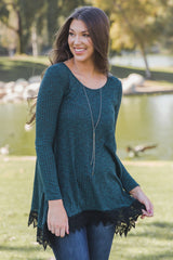 Teal Lace Trim Long Sleeve Top