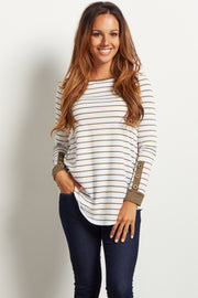Olive Green Striped Button Accent Maternity Top