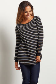 Black Striped Button Accent Maternity Top