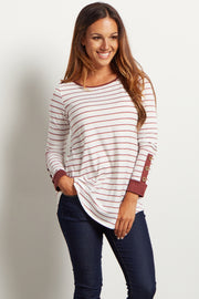 Mauve Striped Button Accent Top