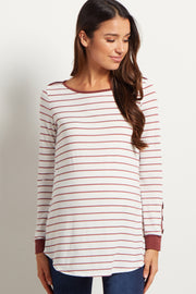 Mauve Striped Button Accent Maternity Top