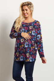 Navy Blue Floral Print Long Sleeve Knit Maternity Top