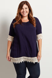 Navy Blue Crochet Trim Linen Plus Size Tunic