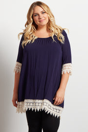 Navy Blue Crochet Trim Linen Plus Size Maternity Tunic