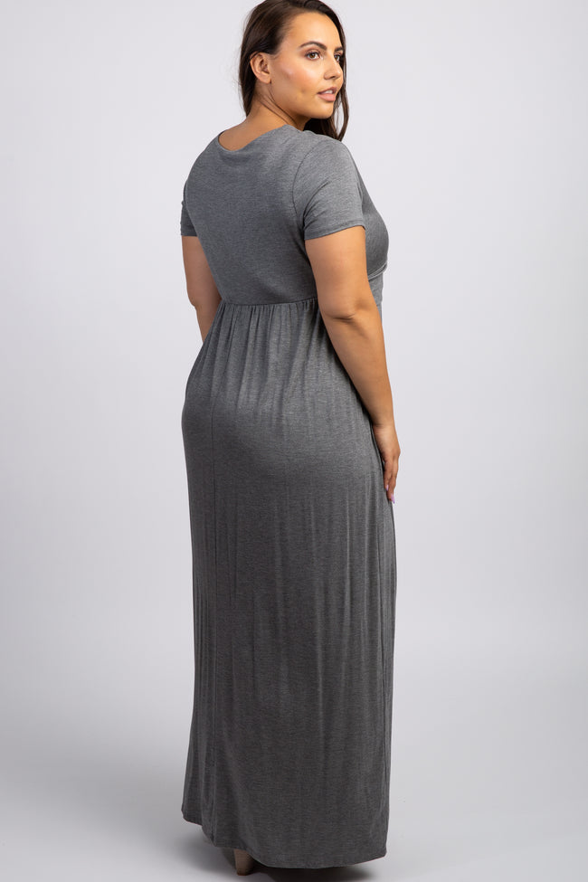Charcoal Grey Draped Nursing Plus Maxi Dress