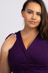 Purple Draped Plus Nursing Maxi Dress