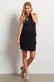 Black Geometric Mesh Top Fitted Maternity Dress