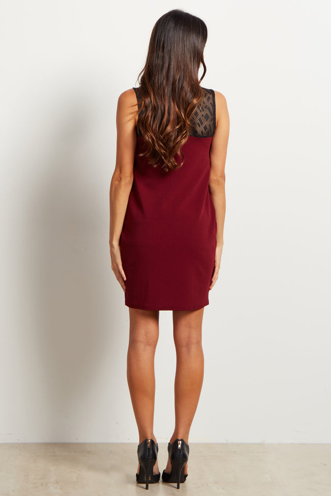 Burgundy Geometric Mesh Top Fitted Maternity Dress