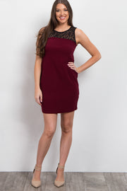 Burgundy Geometric Crochet Top Fitted Dress