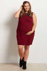Burgundy Geometric Crochet Top Fitted Maternity Plus Size Dress