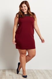 Burgundy Geometric Crochet Top Fitted Plus Size Dress