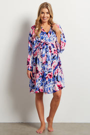 Blue Abstract Floral Delivery/Nursing Maternity Robe