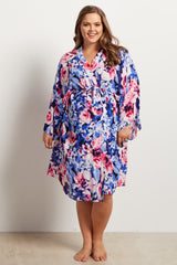 Blue Abstract Floral Delivery/Nursing Plus Size Maternity Robe