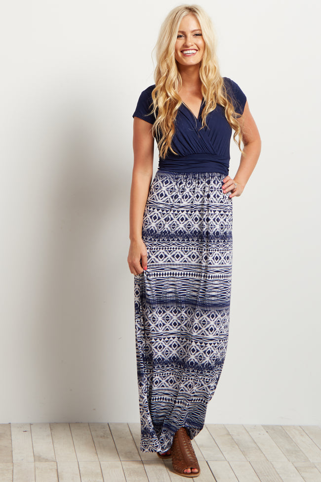 Navy Blue V-Neck Tribal Print Maxi Dress
