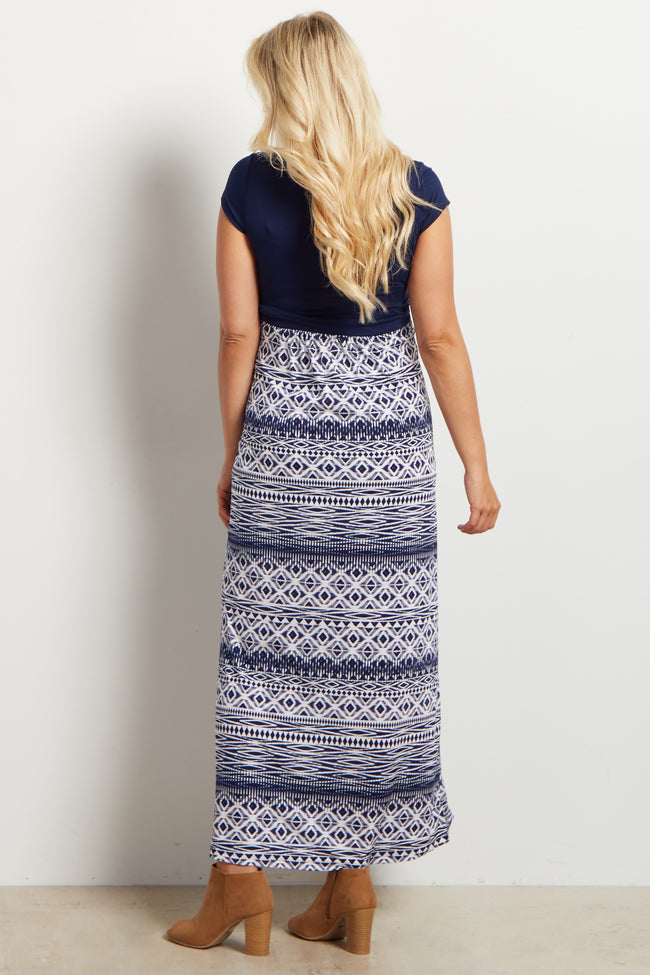 Navy Blue V-Neck Tribal Print Maxi Maternity Dress