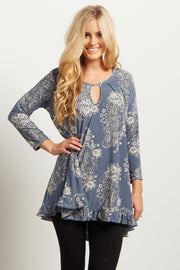 Grey Paisley Ruffle-Trim Top