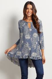 Blue Paisley Ruffle-Trim Maternity Top